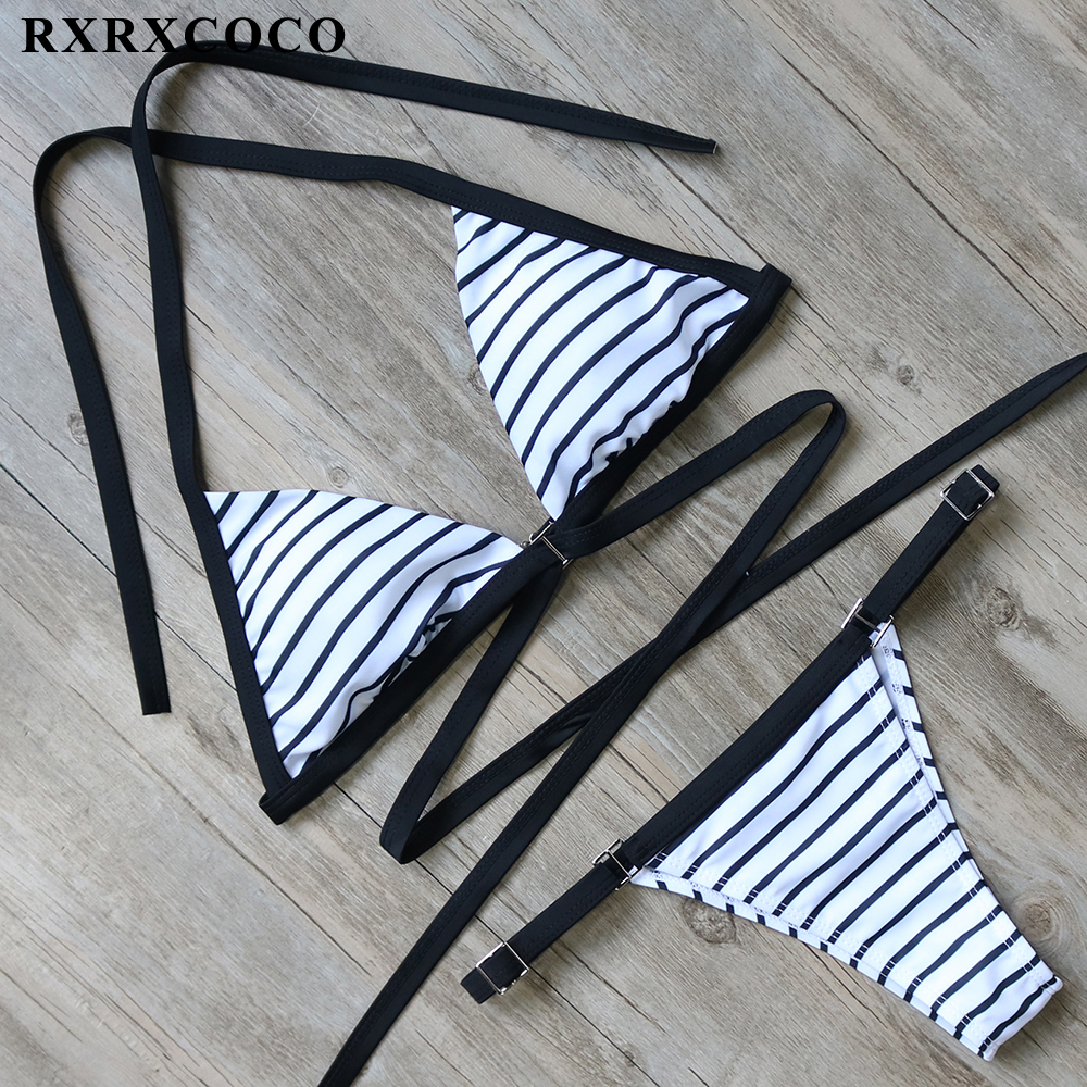 RXRXCOCO Bikini 2017 Sexy Thong Swimwear Women Striped Bikini Set Halter Bandage Swimsuits Female Push Up Bathing Suit with Pad maheu 2017 sexy high neck halter thong bikini set push up women bandage hollow swimsuit swimwear female cut out bathing suit