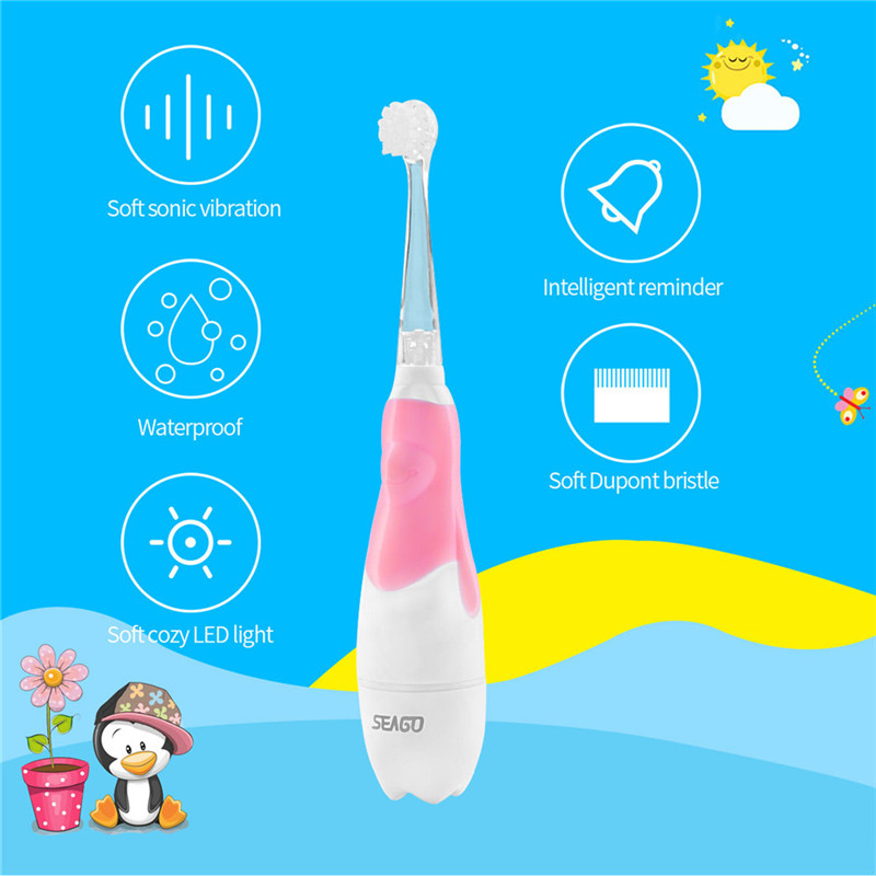 Battery Power Sonic Toothbrush Baby Electric Toothbrush Cartoon Teeth Brush Children Waterproof Tooth Brush For Kids Oral Clean image