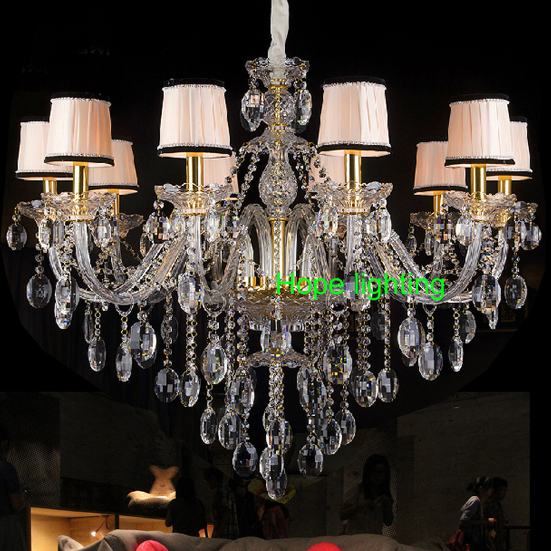 Fabric Shade Crystal Chandelier Living Room Led Chandelier With Shade