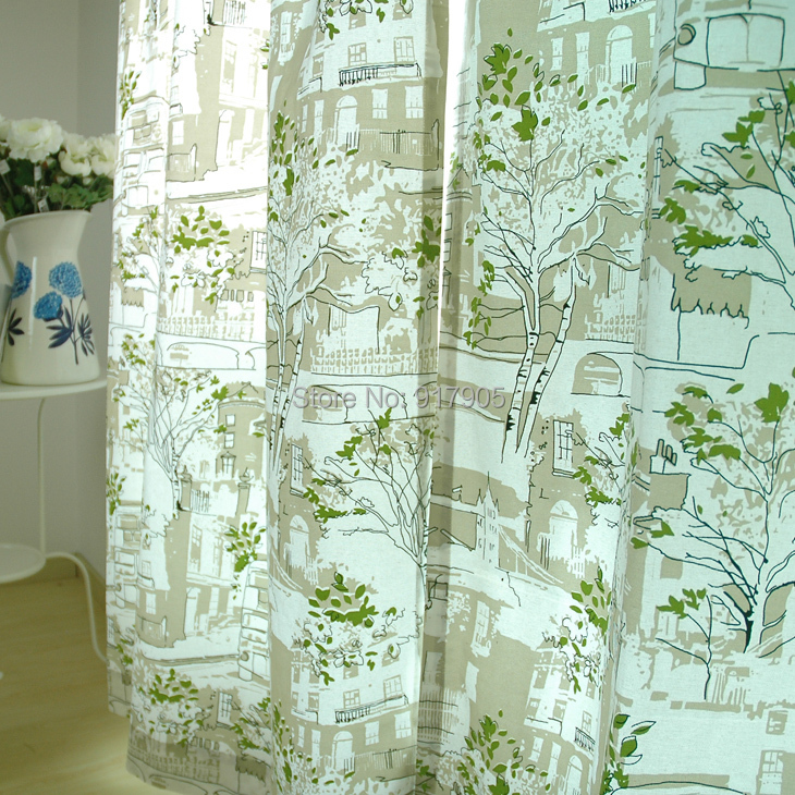 Modern Green Tree Curtains Elegant French Country Home Decoration Fashion Outdoor  Curtains Designer Curtains Sale Window ...
