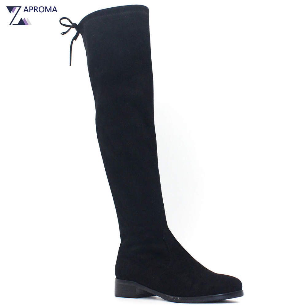 Med Heel Lace Up Winter Shoes Women Black Cross Tied Boots Over the Knee Suede Round Toe Fleeces Crotch High Russian Winter Boot enmayla winter autumn round toe low heel knee high boots women flats lace up shoes woman rider brown black suede motorcycle boot