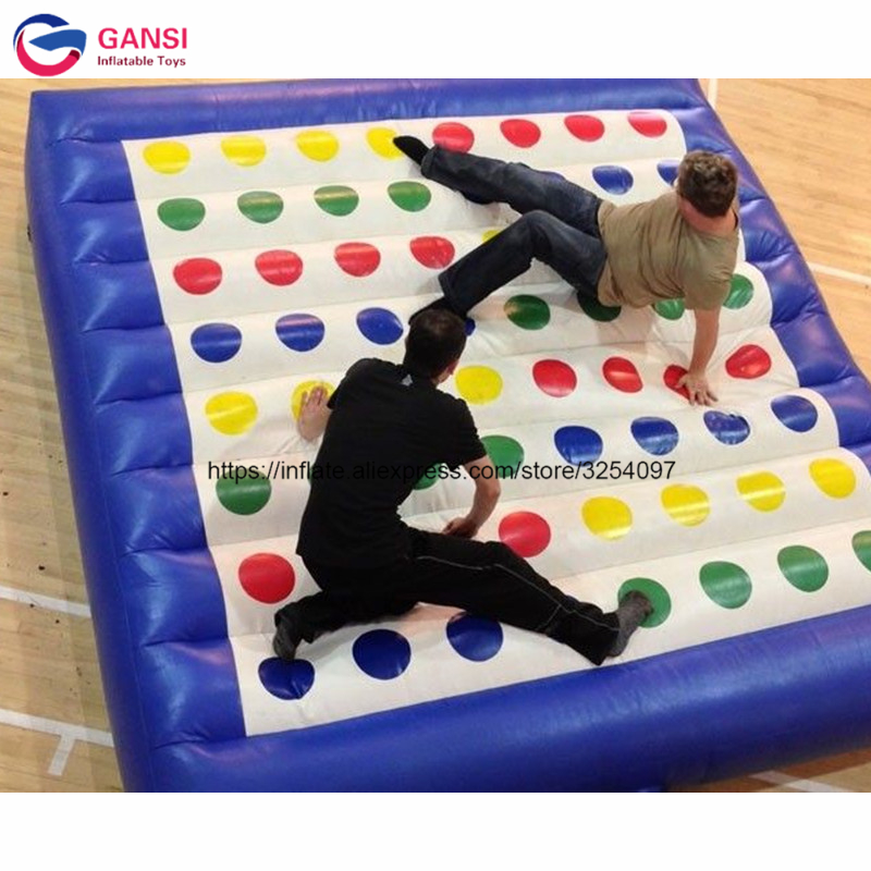 0.55mm PVC Tarpaulin kids inflatable twister game,5*5m interactive inflatable twister mat with factory price