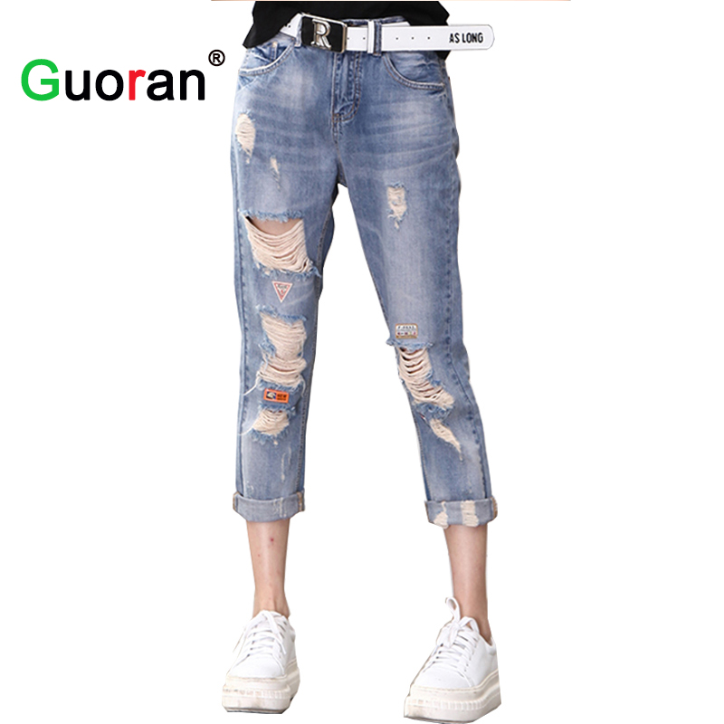 Sale!Women Summer New Ripped Jeans Pants Knee Hole Loose Boy Friend Style Washed Denim Jeans Capris Trousers For Female Girls sarvik 2016 summer new ripped jeans for women low waist girls hole out washed jeans hip hop female fashion jeans trousers femme