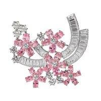 Moda Viola/Rosa Zircone Cristallo Fiore Donne Brooch di Lusso Spilla Pins Wedding Party Gioielli Bijoux Due Colori