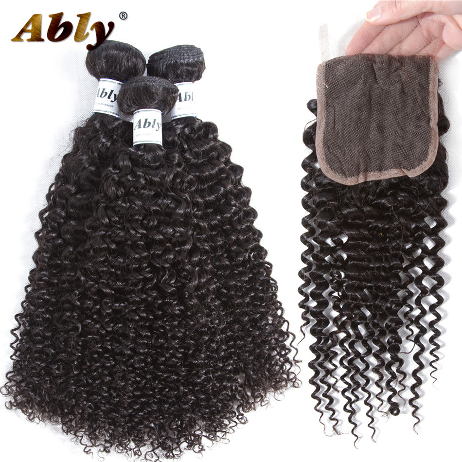 Curly Bundles With Closure Ably 100% Human Hair Weave Weft 3 Bundles With Lace Closure Raw Indian Virgin Curly Hair With Closure