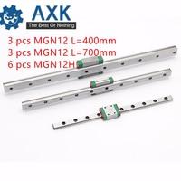 12 мм линейной направляющей MGN12 400 мм 700 мм линейные рельсы + MGN12H Длинные линейные перевозки для ЧПУ X Y Z оси 3d принтер Часть