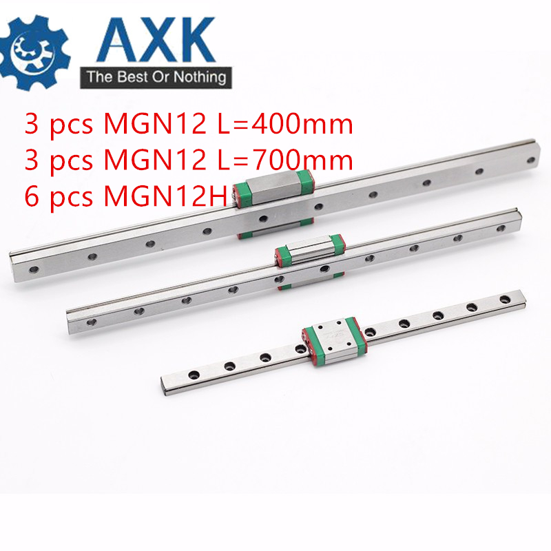 Linear Rail Way MGN12 400mm with MGN12H Linear Carriage for CNC X Y Z Axis