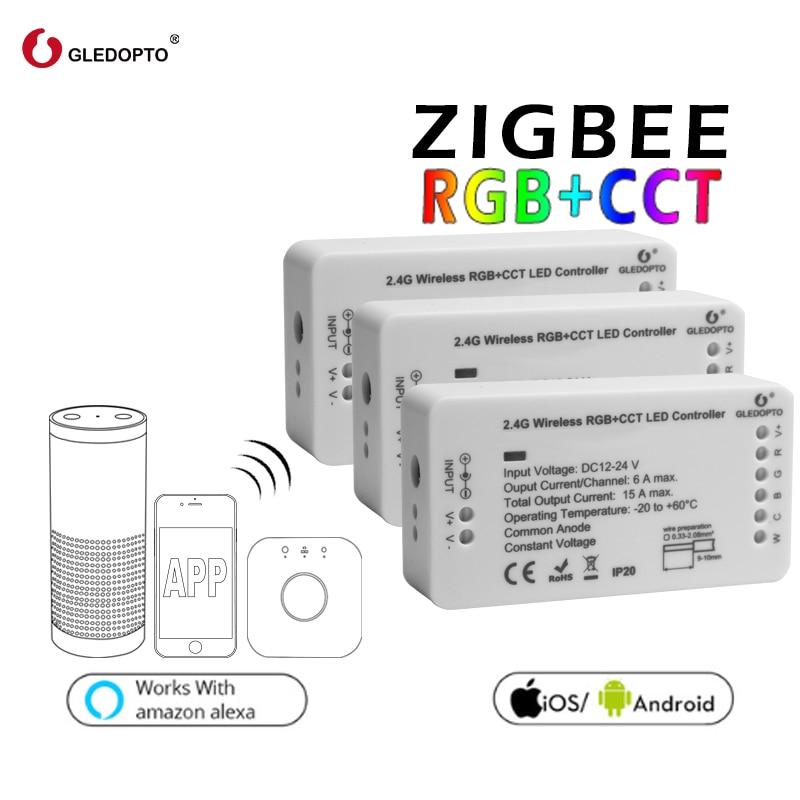 Zigbee Zll lien lumière de bande à puce rgb/rgbw contrôleur DC12V/24 v zigbee rgb APP contrôle compatible avec LED ECHO gledopto led rgb
