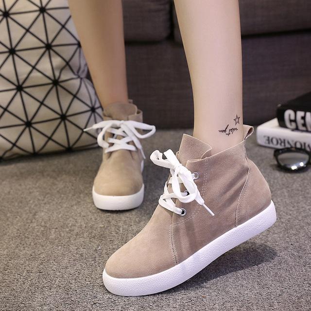 2016 Otoño Nuevos Zapatos de Las Mujeres Del Estilo de Corea Moda Casual Shoes de las mujeres de Cabeza Redonda Plana con Alta Ayuda Zapatos con cordones Respirable zapatos