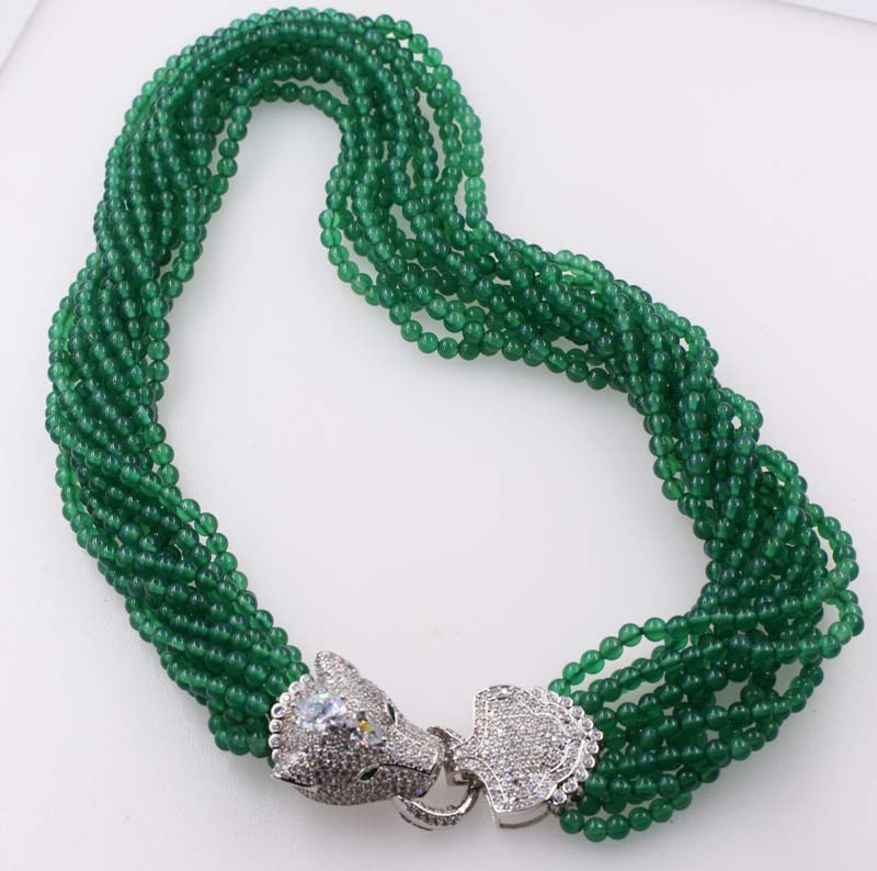 10rows green agate round 4mm +leopard clasp necklace 19inch wholesale beads nature FPPJ woman 2018 green leopard