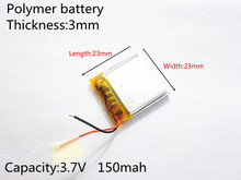 3.7V 150mAh 302323 Lithium Polymer Li-Po li ion Rechargeable Battery cells For Mp3 MP4 MP5 GPS PSP mobile bluetooth