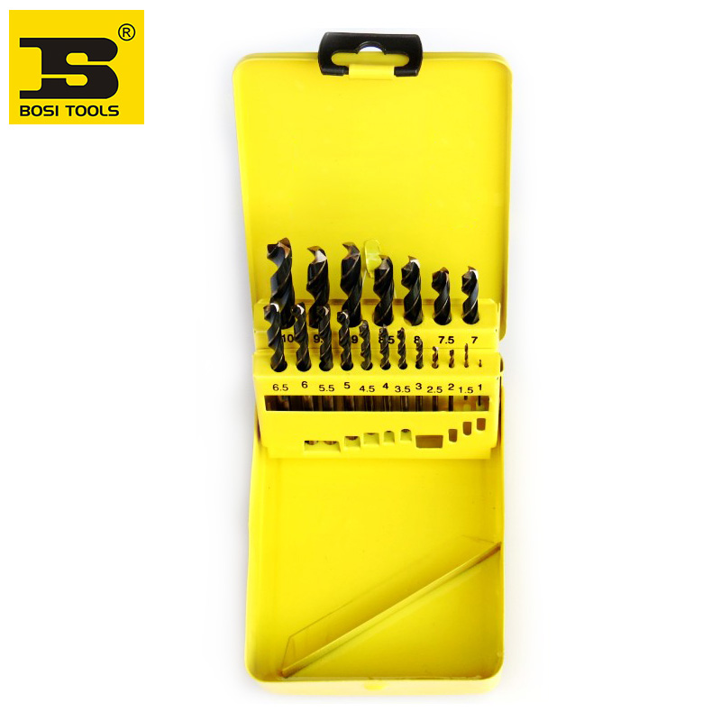 Free shipping BOSI new 19pc PRECISION TWIST DRILL BITS SET  IN METAL BOX free shipping bosi brand new 50pc mechanics tool set china top ten brand