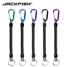 Jackfish pesca cordas de retenção com acampamento mosquetão seguro bloqueio aço fio corda pesca ferramentas acessórios