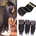 Brazilian Straight Hair With Lace Closure 3 bundles Brazilian Virgin Hair With Closure Cheap Straight Human Hair With Closure