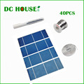 40pcs 17.6% efficiency   Solar Cell 2X6 for DIY Cell Solar + Tab Wire+ Bus Wire+ Flux Pen,Free Shipping with CE Certificate