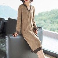Winter Dress Women Wool Knitted Sweater Dress High Quality Fshion V Neck Long Sleeve Warm Loose Pullover Midi Dress Female