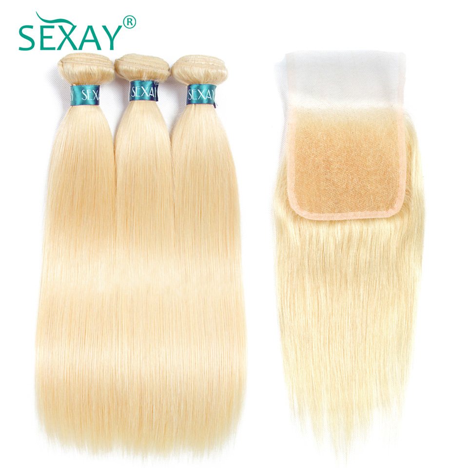 Sexay 613 Hair Bundles With Closure Pre-Colored Remy Human Hair Brazilian Straight Human Hair Weave 3 Bundles With Lace Closures
