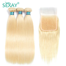 Sexay 613 Hair Bundles With Closure Pre-Colored Remy Human Hair Brazilian Straight Human Hair Weave 3 Bundles With Lace Closures(China)