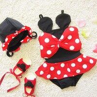 Baby girls swimsuit 2017 summer baby Dots Bow one-piece swimsuit kids Beachwear children's swimwear