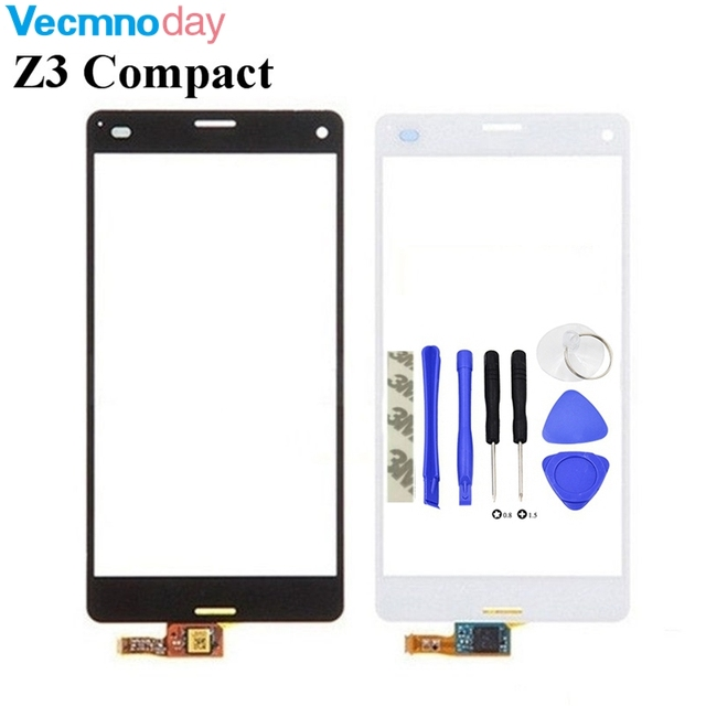 Vecmnoday High Quality For Sony Xperia Z3 Compact Z3 mini D5803 D5833 Touch Screen Digitizer Sensor Front Glass Lens+tools