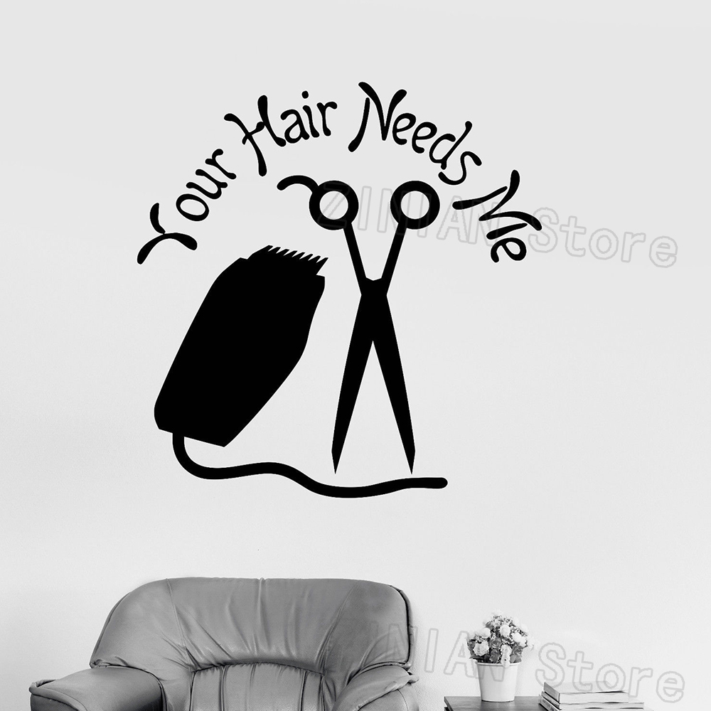 US $7.99 25% OFF|Funny Hairdresser Quote Wall Decals Your Hair Needs Me  Hair Salon Stylist Sign Logo Wall Window Stickers Vinyl Decal Poster  Z405-in ...