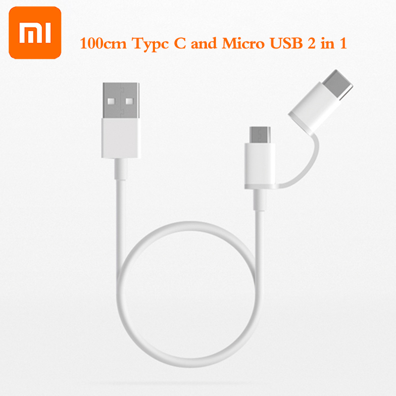 Image 2 - original Xiaomi 2 in 1 Micro USB to Type C sync data Charger Cable usually wire for Mi 5 5A 5C 5X 5S plus 6 6X 8 SE 9 redmi 4A X-in Mobile Phone Cables from Cellphones & Telecommunications