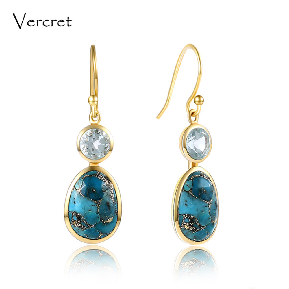 Vercret turquoise drop earrings romantic dangle earrings 925 sterling silver jewelry for women sp presale pair of stylish faux turquoise crescent shape drop earrings for women