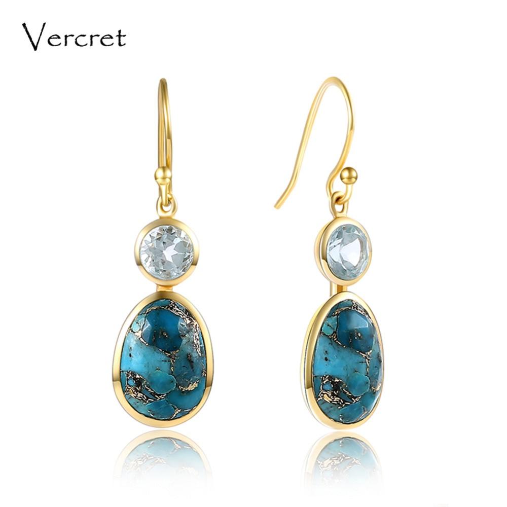 Vercret turquoise goutte boucles d'oreilles romantique boucles d'oreilles 925 bijoux en argent sterling pour les femmes sp prévente