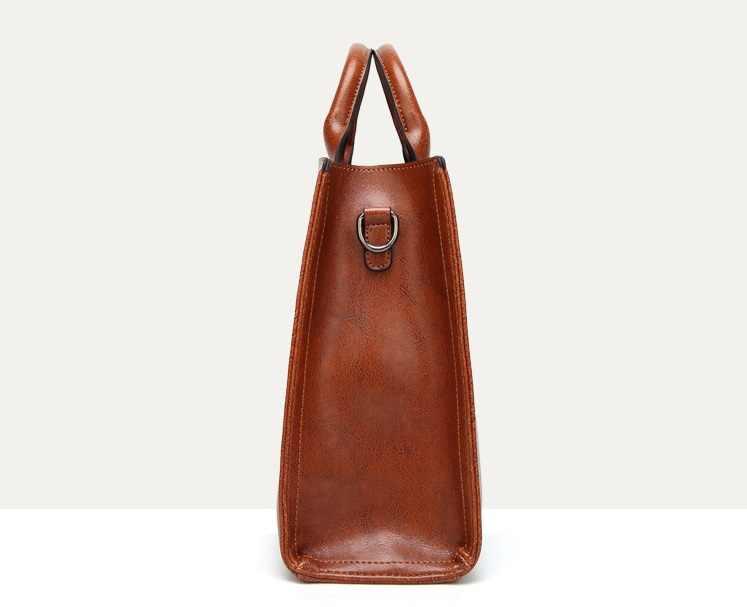 Retro europeu americano feminino bolsa de luxo mulheres concha tote alta capacidade cera óleo couro bolsa ombro mensageiro c836
