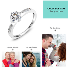 Genuine 925 Sterling Silver Ring Classic Wedding Ring Jewelry Cubic Zircon Rings For Women Bridesmaid Gifts (JewelOra RI101321)