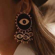 2019 New Fashion Black Color Evil Eye Big Statement Earring Punk Exaggerated Dripping Oil Evil Eye Drop Earring Party Jewelry