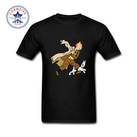 2017 New Arrive Funny Tintin Adventure cartoon Funny T Shirt for men