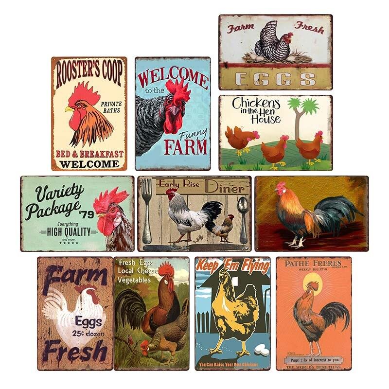 Plaque de poulet signe Vintage en métal étain signes affiche murale stickers Plaque peinture Bar ferme décor à la maison mur Art 30*20 cm