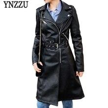 YNZZU 2018 Autumn Women Faux Leather Jacket Solid Long Sleeve Pink Black Biker Slim Coat Zipper Motorcycle PU YO549