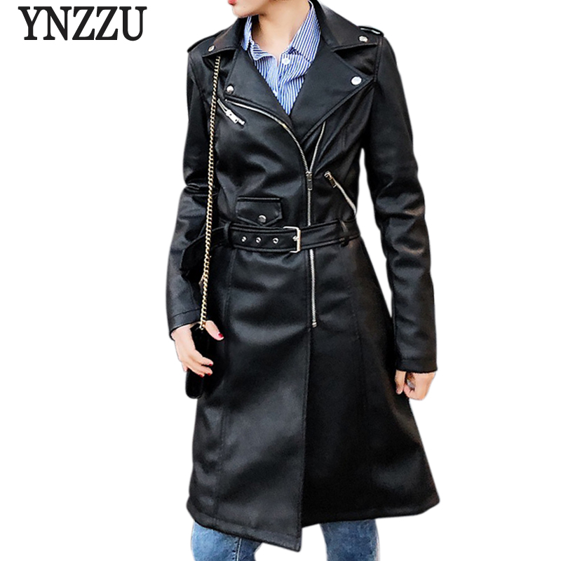 YNZZU 2018 Autumn Women Faux   Leather   Jacket Solid Long Sleeve Pink Black Biker Slim Long Coat Zipper Motorcycle PU Jacket YO549