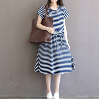Blue White Striped Cotton Loose Mori Girl Dress 2017 Summer Casual Large Hem Plus Size XXXL