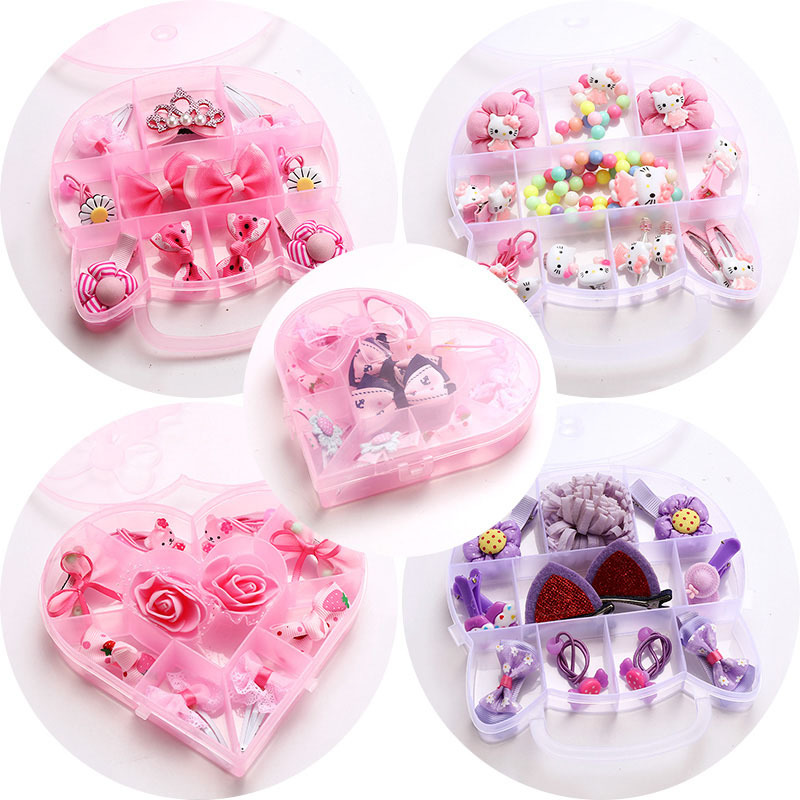 1 set headwear accessories baby children girls hair clip barrette rubber band hairgrip tiara princess headdress birthday gift