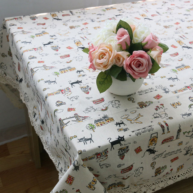 Cute Cat Print – Decorative Table Cloth – Cotton Linen and Lace