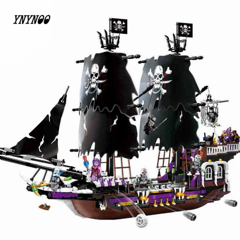 YNYNOO ENLIGHTEN 1313 NEW 1535Pcs Pirates of the Caribbean Black general ship large model Christmas Gift Building Blocks toy 1513pcs pirates of the caribbean black pearl general dark ship 1313 model building blocks children boy toys compatible with lego