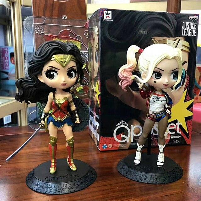 Disney Q Posket Figures Toy Harley Quinn Suicide Squad Wonder Woman Avengers Endgame Model Dolls Gift for Children