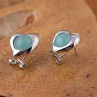 Sterling Silver Manual Mosaic Amazonite Stud Earrings Earrings Ear Clip Loving Hearts And Pure And Fresh Sweet And Lovely Woman