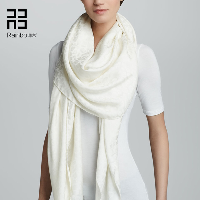 High-grade White Leopard Jacquard Lamb Cashmere Scarf And The Spring And Autumn And Winter Female Big Shawl And Money