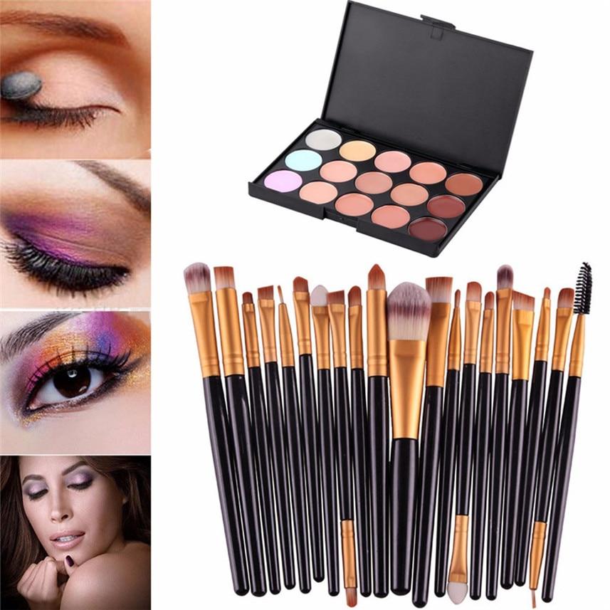 15 Colors Contour font b Face b font Cream Makeup Concealer Palette Professional 20 Makeup Brush