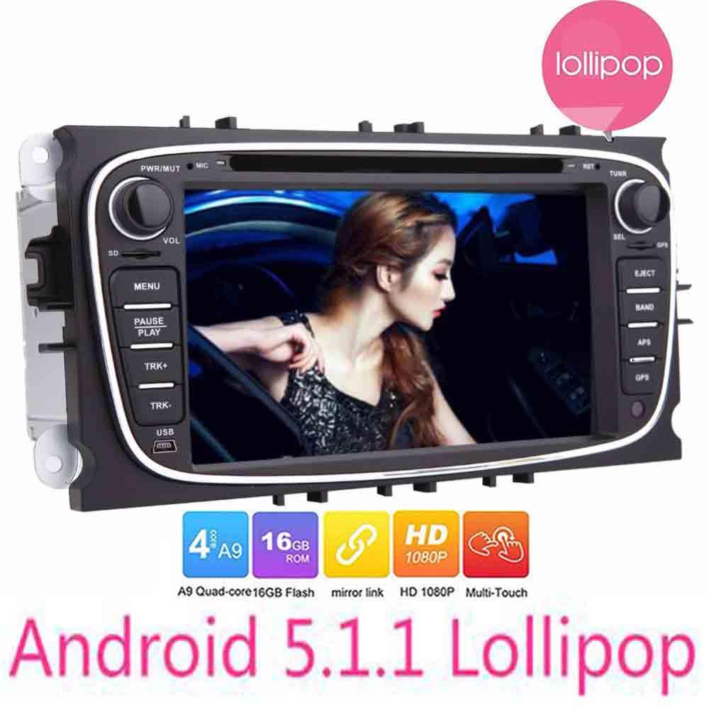 Autoradio 1024*600 Quad Core Double 2 Din Android 5.1.1 dans tableau de bord voiture DVD GPS Navigation pour Ford Focus Mondeo s-max voiture headunit
