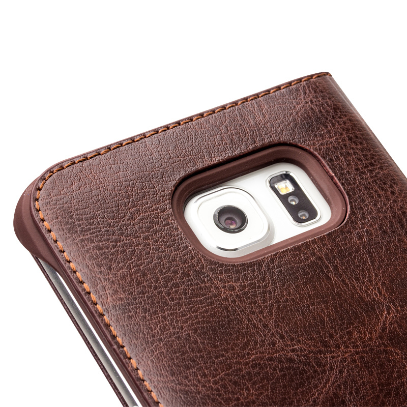new arrival 94e27 bfb70 US $23.19 20% OFF|QIALINO Genuine Leather Phone Case for Samsung Galaxy  s6/s6 edge Ultra Thin Flip Cover for Samsung S6 edge plus for 5.1/5.6  inch-in ...