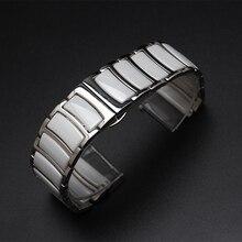 Accesorios de reloj negro de cerámica blanca del abrigo del metal de plata para hombres y mujeres del reloj de diamantes 20mm 22mm Mariposa de La manera broche de nuevo