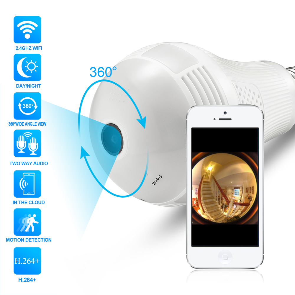 Hamrolte 360Degree 3D VR Panoramic Camera Bulb Smart LED Lights Wireless Wifi IP Camera Two Way Audio,Motion Detection,ICsee APP
