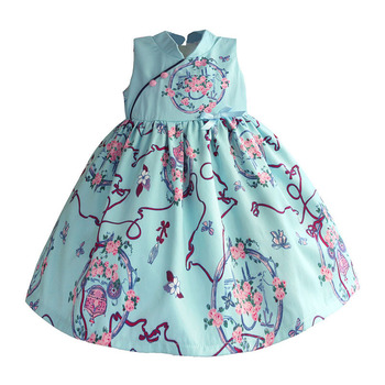 Chinese Style Girls Dresses Light Blue Retro Flora Kids Dress Silk Satin Princess Kids Dress Children Clothes Costume for 1-8T 1
