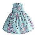 Китайский Стиль Платья Светло-Синий Ретро Flora Дети Платье Шелковый Атлас Принцесса Платье Малышей Детская Одежда Костюм для 1-8 Т