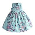 Muchachas del estilo chino vestidos de azul claro retro flora niños vestido de satén de seda de princesa dress kids niños ropa traje para 1-8 t